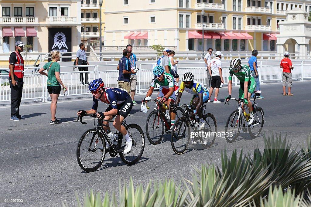 89th Road World Championships 2016 / Men U23 Road Race Patrick MULLER (SUI)/ Jean Claude UWIZEYE (RWA)/ Mahdi RAJABIKABOODCHESHMEH (IRI)/ Michael O'LOUGHLIN(IRL)/ Gregory DANIEL (USA)/ The Pearl Qatar - The Pearl Qatar (166km)/ Men U23 / WC /