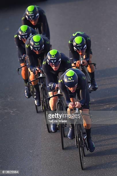 89th Road World Championships 2016 / TTT Men Elite Team MOVISTAR TEAM / Andrey AMADOR BIKKAZAKOVA / Jonathan CASTROVIEJO NICOLAS / Alex DOWSETT /...