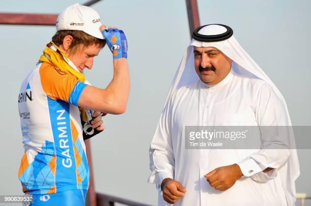 8Th Tour Of Qatar, Stage 1Podium, Bradley Wiggins Yellow Jersey, Sheikh Khalid Bin Ali Bin Abdullah Al Thani President Qatar Cycling Federation,...