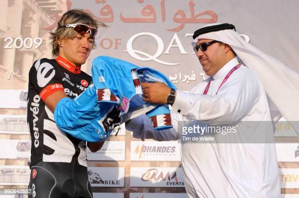 8Th Tour Of Qatar Stage 2Podium Heinrich Haussler Blue Youngster Jersey Celebration Joie Vreugde Mohammed Salem Al Hemoud Khalifa Stadium Al Khor...