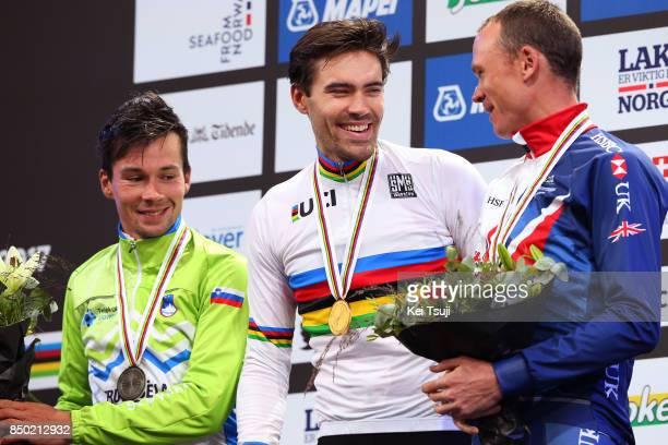 90th Road World Championships 2017 / ITT Men Elite Podium / Primoz ROGLIC Silver Medal / Tom DUMOULIN Gold Medal / Christopher FROOME Bronze Medal /...