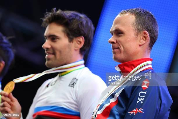 90th Road World Championships 2017 / ITT Men Elite Podium / Tom DUMOULIN Gold Medal / Christopher FROOME Bronze Medal / Celebration / Bergen Bergen...