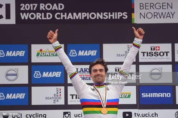 90th Road World Championships 2017 / ITT Men Elite Podium / Tom DUMOULIN Gold Medal / Celebration / Bergen Bergen Mount Floyen 316m / Individual Time...