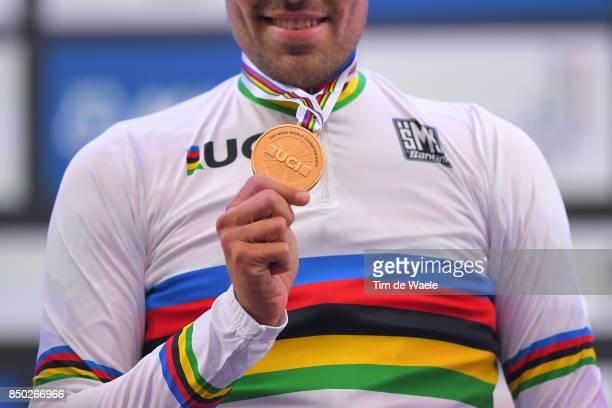 90th Road World Championships 2017 / ITT Men Elite Podium / Tom DUMOULIN Gold Medal / Celebration / Bergen - Bergen- Mount Floyen 316m / Individual...
