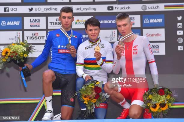 90th Road World Championships 2017 / ITT Men Junior Podium / Antonio PUPPIO Silver Medal / Thomas PIDCOCK Gold Medal / Filip MACIEJUK Bronze Medal /...