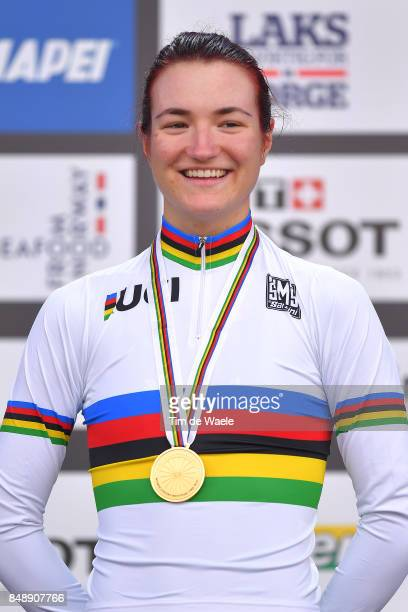 90th Road World Championships 2017 / ITT Women Junior Podium / Elena PIRRONE Gold Medal / Celebration / Bergen Bergen / Individual Time Trial / ITT /...