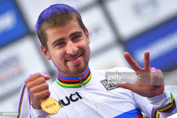 90th Road World Championships 2017 / Men Elite Road Race Podium / Peter SAGAN Gold Medal / Celebration / Bergen - Bergen / RR / Bergen / RWC /