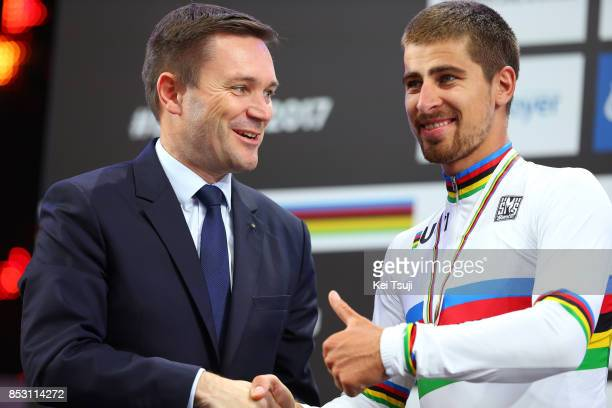 90th Road World Championships 2017 / Men Elite Road Race Podium / David LAPPARTIENT UCI President / Peter SAGAN Gold Medal / Celebration / Bergen...