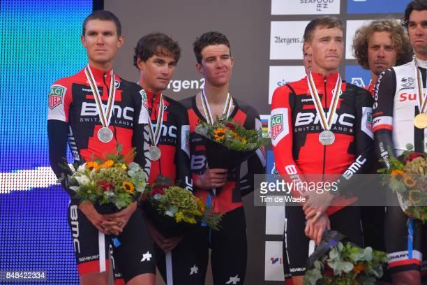 90th Road World Championships 2017 / TTT Men Elite Podium / Team BMC Racing / Rohan DENNIS / Silvan DILLIER / Stefan KUNG / Daniel OSS / Tejay VAN...