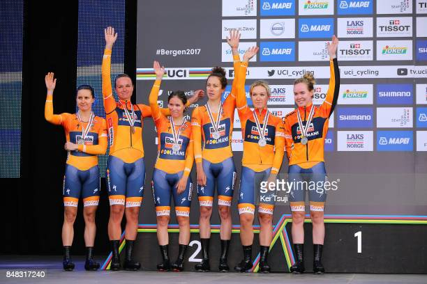 90th Road World Championships 2017 / TTT Women Elite Podium / Chantal BLAAK / KarolAnn CANUEL / Elizabeth DEIGNAN / Amalie DIDERIKSEN / Megan...