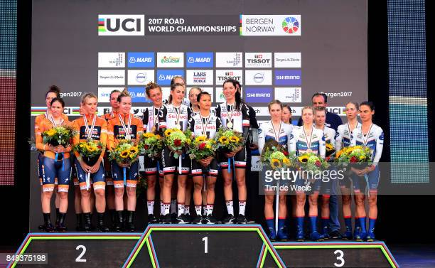90th Road World Championships 2017 / TTT Women Elite Podium / Team Boels Dolmans Cyclingteam / Chantal BLAAK / KarolAnn CANUEL / Elizabeth DEIGNAN /...