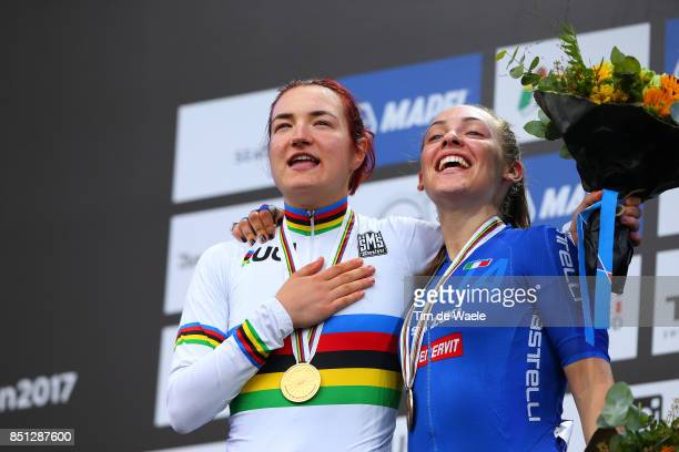 90th Road World Championships 2017 / Women Junior Road Race Podium / Elena PIRRONE Gold Medal / Letizia PATERNOSTER Bronze Medal Celebration / Bergen...