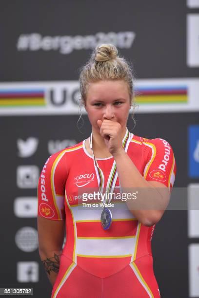 90th Road World Championships 2017 / Women Junior Road Race Podium / Emma Cecilie Norsgaard JORGENSEN Silver Medal Celebration / Bergen Bergen / RR /...