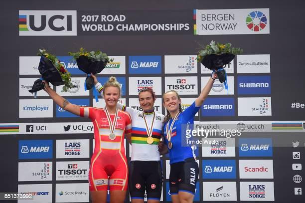 90th Road World Championships 2017 / Women Junior Road Race Podium / Emma Cecilie Norsgaard JORGENSEN Silver Medal / Elena PIRRONE Gold Medal /...