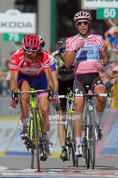 94th Giro Italia 2011/ Stage 20 Arrival / CONTADOR Alberto Pink Jersey Celebration Joie Vreugde / SCARPONI Michele Red Jersey / Verbania - Sestriere...
