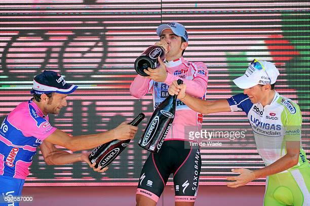 94th Giro Italia 2011/ Stage 21 Podium / SCARPONI Michele / CONTADOR Alberto Pink Jersey / NIBALI Vincenzo / Celebration Joie Vreugde / Champagne /...