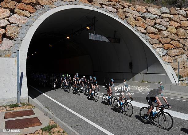 95th Volta Catalunya 2014 / Stage 5 Ilustration Ilustratie/ Peloton Peleton/ Landscape Paysage/ Tunnel/ Greg HENDERSON / Bart DE CLERCQ / Jurgen VAN...
