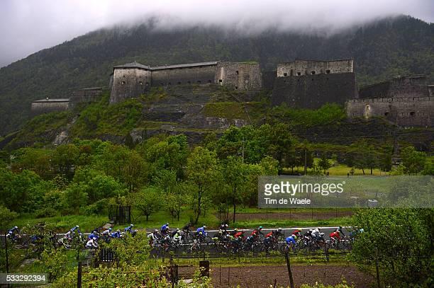 96th Tour of Italy 2013 / Stage 14 Illustration Illustratie / Peleton Peloton / EXILLES Fort Chateau Castle Kasteel / Landscape Paysage Landschap /...