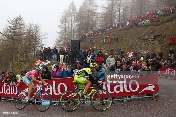 96th Tour of Italy 2013 / Stage 14 SANTAMBROGIO Mauro / NIBALI Vincenzo Pink jersey / Bardonecchia Jaffrau / Fans Supporters Public Publiek...
