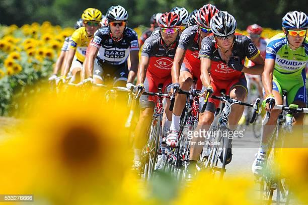 97th Tour de France 2010 / Stage 14 ARMSTRONG Lance / Illustration Illustratie / Peleton Peloton / Sun Flowers Tournesolles Zonnebloem / Landscape...