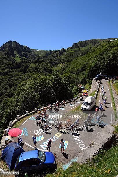97th Tour de France 2010 / Stage 14 Illustration Illustratie / Peleton Peloton / Port de Pailheres / Mountains Montagnes Bergen / Landscape Paysage...