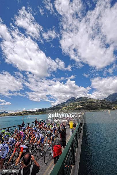 98th Tour de France 2011 / Stage 17 Illustration Illustratie / Savines-Le-Lac Lake Lac Meer / Peleton Peloton/ Landscape Paysage Landschap / Gap -...