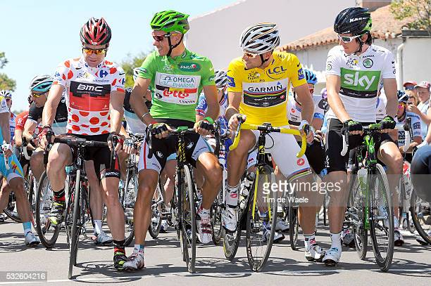 98th Tour de France 2011 / Stage 3 Cadel EVANS Mountain Jersey / Philippe GILBERT Green Jersey / Thor HUSHOVD Yellow Jersey / Geraint THOMAS White...