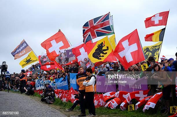 98th Tour of Flanders 2014 Illustration Illustratie / Paterberg / Public Publiek Spectators Fans Supporters / Flag Drapeau Vlag / Landscape Paysage...