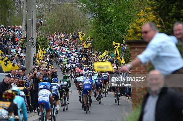 98th Tour of Flanders 2014 Illustration Illustratie / Peleton Peloton / Wolvenberg / Public Publiek Spectators Fans Supporters / Flag Drapeau Vlag /...