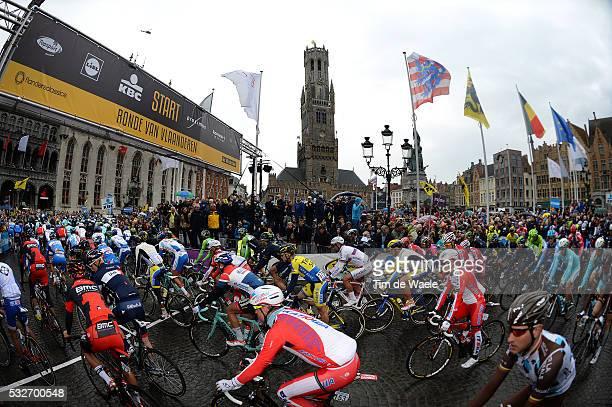 98th Tour of Flanders 2014 Illustration Illustratie / Start Departure / Public Publiek Spectators / Peleton Peloton / BRUGGE City Ville Stad /...