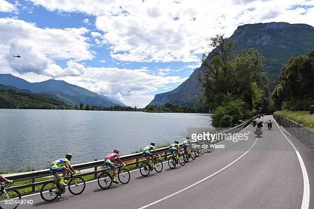 98th Tour of Italy 2015 / Stage 15 Illustration Illustratie/ Peloton Peleton/ Landscape Paysage/ Lake Lac/ Mountains/ Team Saxo Tinkoff / CONTADOR...