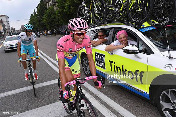 98th Tour of Italy 2015 / Stage 21 CONTADOR Alberto Pink Leader Jersey/ TINKOV Oleg TINKOFF SAXO Owner/ ARU Fabio White Young Jersey/ Celebration...