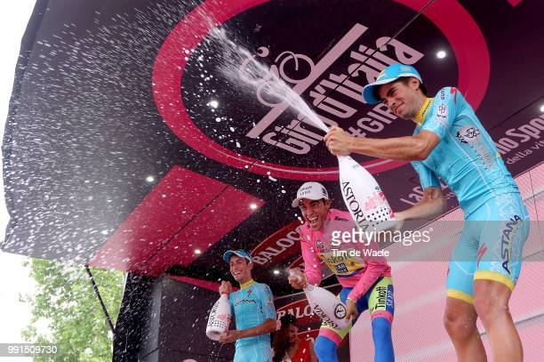 98Th Tour Of Italy 2015, Stage 21 Podium, Aru Fabio / Contador Alberto Pink Leader Jersey, Landa Meana Mikel / Celebration Joie Vreugde, Champagne,...