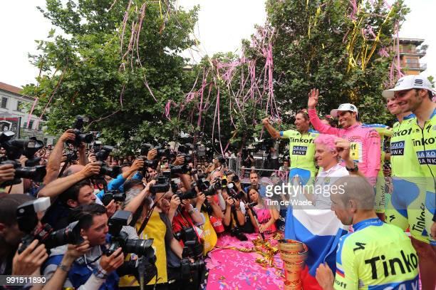 98Th Tour Of Italy 2015 Stage 21 Podium Contador Alberto Pink Leader Jersey Oleg Tinkoff Team Owner Team Tinkoff Saxo Bank / Celebration Joie Vreugde...