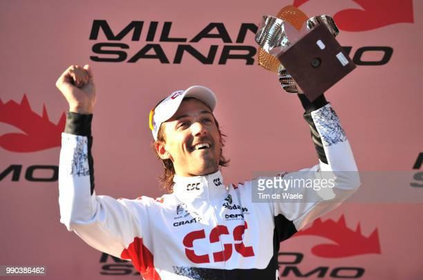Milan - Sanremo Podium, Fabian Cancellara Celebration Joie Vreugde /Milaan Milano San Remo , Tim De Waele