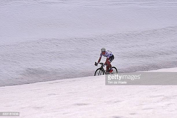 99th Tour of Italy 2016 / Stage 14 Illustration/ Landscape/ Mountains/ Snow/ Passo Valparola 2200m/ Bob JUNGELS White Young Jersey/ Alpago Corvara...