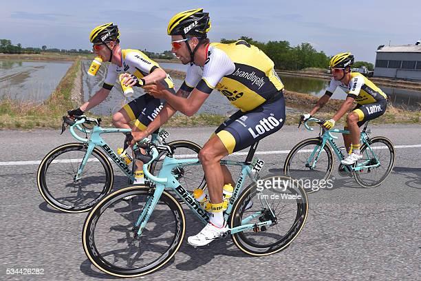 99th Tour of Italy 2016 / Stage 18 Martijn KEIZER / Primoz ROGLIC / Jos VAN EMDEN / Feed Zone / Muggio Pinerolo / / Giro /
