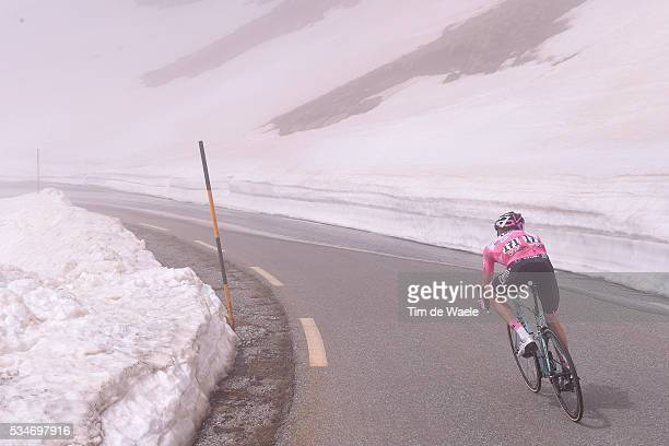 99th Tour of Italy 2016 / Stage 19 Illustration / Landscape / Mountains / Snow / Steven KRUIJSWIJK Pink Leader Jersey / Colle Dell'Agnello 2744m /...
