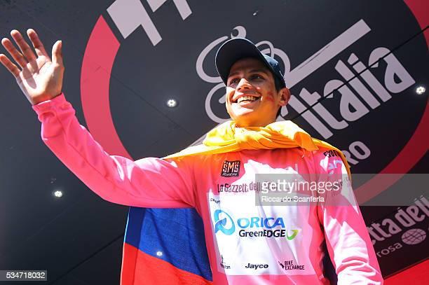 99th Tour of Italy 2016 / Stage 19 Podium / Johan Esteban CHAVES RUBIO Pink Leader Jersey / Celebration / Pinerolo - Risoul 1862m / Giro /