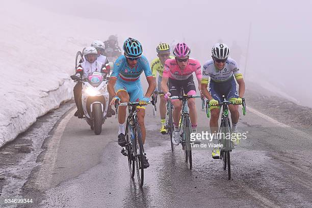 99th Tour of Italy 2016 / Stage 19 Vincenzo NIBALI / Johan Esteban CHAVES / Steven KRUIJSWIJK Pink Leader Jersey / Colle Dell'Agnello 2744m /...