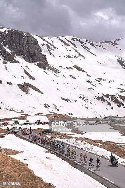 99th Tour of Italy 2016 / Stage 20 Illustration / Peloton / Col De La Bonette Mountains / Snow / Landscape / Guillestre Sant'Anna Di Vinadio 2015m /...