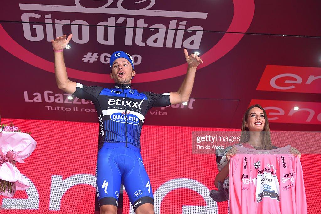 99th Tour of Italy 2016 / Stage 8 Podium / Gianluca BRAMBILLA (ITA) Pink Leader Jersey / Celebration / Foligno - Arezzo (186Km)/ Giro /