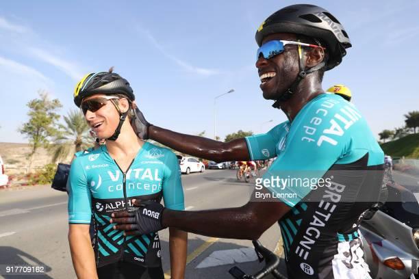 9th Tour of Oman 2018 / Stage 1 Arrival / Bryan Coquard of France Celebration / Kevin Reza of France / Nizwa Sultan Qaboos University / Oman Tour /