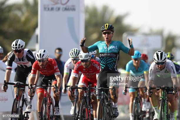 9th Tour of Oman 2018 / Stage 1 Arrival / Bryan Coquard of France Celebration / Mark Cavendish of Great Britain / Giacomo Nizzolo of Italy / Max...