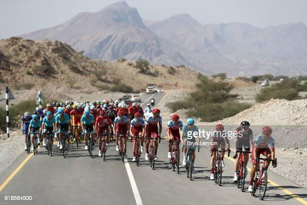 9th Tour of Oman 2018 / Stage 3 Peloton / Landscape / Team Katusha Alpecin of Switzerland / Nathan Haas of Australia Red Leader Jersey / Steff Cras...