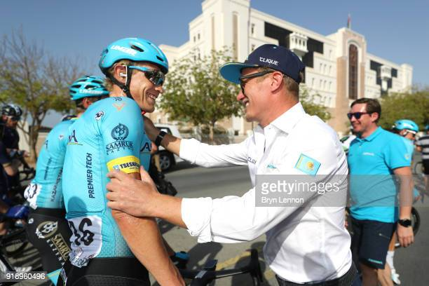 9th Tour of Oman 2018 / Stage 4 Arrival / Magnus Cort Nielsen of Denmark Celebration / Alexander Vinokourov Team Astana owner / YitiAl Sifah Ministry...