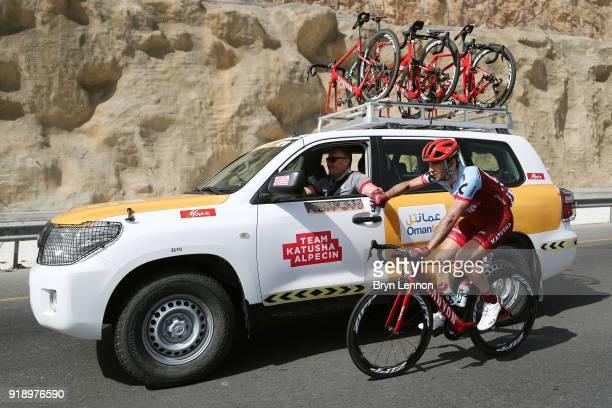 9th Tour of Oman 2018 / Stage 4 Baptiste Planckaert of Belgium / Torsten Schmidt of Germany Sportsdirector Team Katusha Alpecin of Switzerland /...