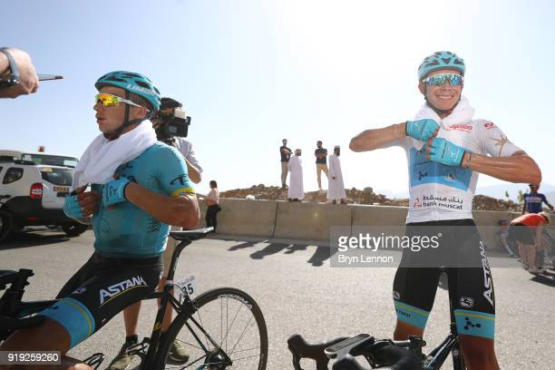 9th Tour of Oman 2018 / Stage 5 Arrival / Alexey Lutsenko of Kazakhstan / Miguel Angel Lopez of Colombia White Best Young Rider Jersey Celebration /...