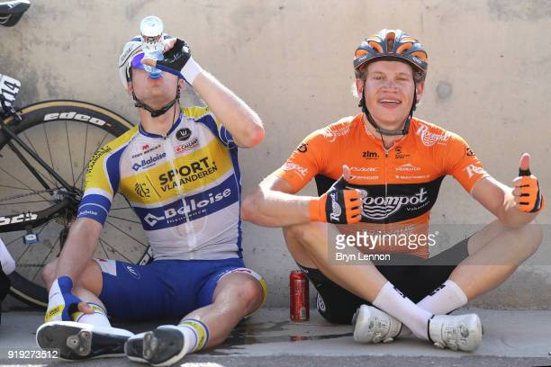 9th Tour of Oman 2018 / Stage 5 Arrival / Kevin Deltombe of Belgium / Floris Gerts of The Netherlands / Samail Jabal Al AkhdharGreen Mountain 1235m /...
