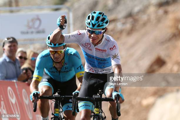 9th Tour of Oman 2018 / Stage 5 Arrival / Miguel Angel Lopez of Colombia White Best Young Rider Jersey Celebration / Alexey Lutsenko of Kazakhstan /...